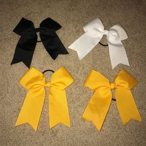Gold, black, and white bows
